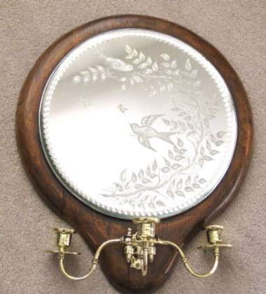 PAIR GIRANDOLE MIRRORS WITH ETCHED DECORATIVE GLASS