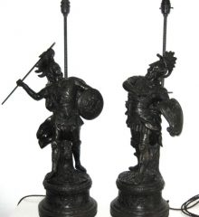 PAIR TALL VICTORIAN SPELTER LAMPS